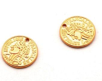 2 x pendant coin gold, 15 mm | Charm, versatile - AN02G