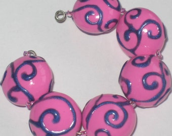 Handmade Polymer Clay Lentil Beads, Hand Painted Purple Scrolls on Pink