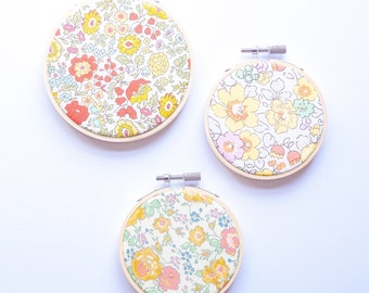 Set of 3 Embroidery Hoops with Liberty of London fabric