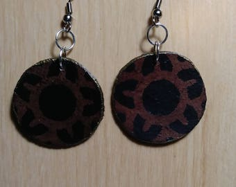 Leather earrings, Leather jewelry, original jewelry,Round disc earrings, Circular earrings