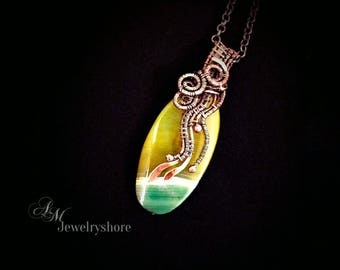 Green Agate pendant Copper necklace Wire wrapped jewelry Women gifts Boho necklace Copper pendant Boho jewelry Wire wrapped necklace