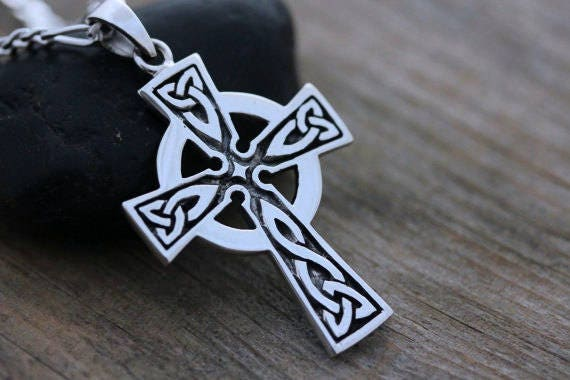 Mens Celtic cross necklace sterling silver mens irish