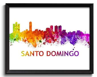 Santo Domingo Skyline City Dominican Republic Colorful Watercolor Cityscape Poster Print Abstract Art Painting Red Purple Pink Yellow