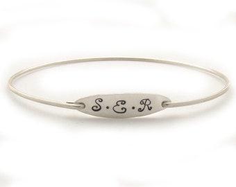 Monogram Bracelet for Women 3 Initial Bracelet Monogram Gift Idea for Bride, Mother, College Graduate, Her Monogram Jewelry, Monogram Bangle