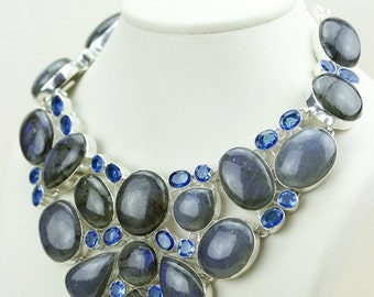 Excellent Graded Oval Shaped Canadian LABRADORITE Blue Topaz 925 Solid Sterling Silver Necklace N476