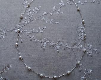 pearlandchainnecklace,choker,weddingjewelry,Swarovskpearlnecklace,stationnecklace