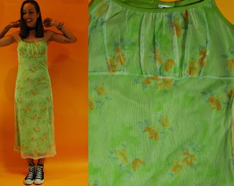 SALE vintage 1980s / 90s Lime Green Mesh Floral Long Dress