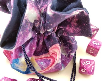 Drawstring Bag, Gift Bag, Dice Bag, Gift Pouch, Dungeons and Dragons, D&D, Galaxy Print, Purple, Planets - Medium Size