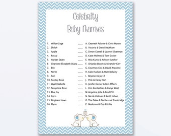 Baby Shower Games - Celebrity Baby Names Game - Blue Elephant Baby Shower - Blue Elephant Shower Games - Baby Names Game - Blue Elly