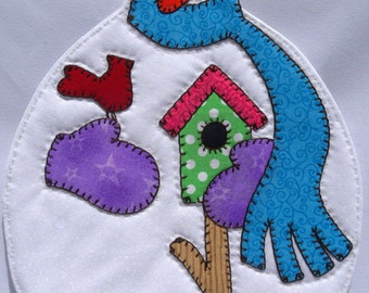 Snowman Mug Rug in Bright Colors