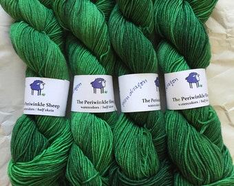 watercolors sock yarn - half skeins - green dragon