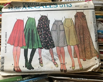 Vintage McCall's Skirt Sewing Pattern / Retro 1970s Misses Flared A-Line & Gored Skirts / Size 12, Waist 26 1/2 / 5113