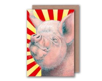 Old Major Pig Illustration - Blank Greeting Card - Animal Farm
