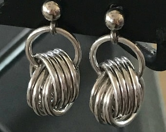 Chainmail Silver Ball Earrings w/ Stainless Steel Posts
