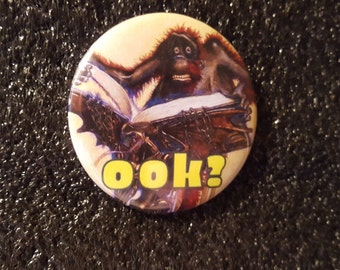 "Discworld's Librarian - Orangutan Ook! - pinback button in 1.25"" or 2.25"""