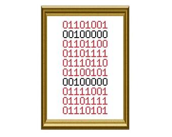 Binary I Love You Geek Counted Cross Stitch Pattern