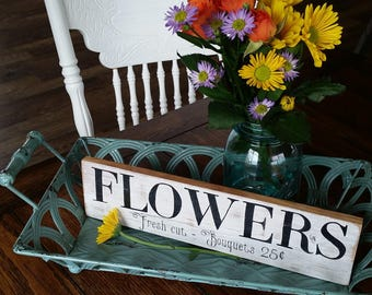 Vintage Inspired, Hand Painted, Black and White, Distressed Wood Flowers Sign