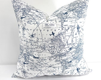 Air Traffic Navy Cushion cover, Map pillow cover,Travel,world map air travel, Navy and white. Select your size.