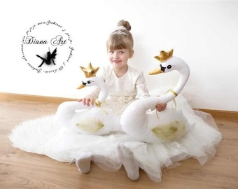 King swans, Swan nursery pillow decor, swan soft kids room plush toy, cygne,big stuffed swan doll baby shower birthday gift for baby girls