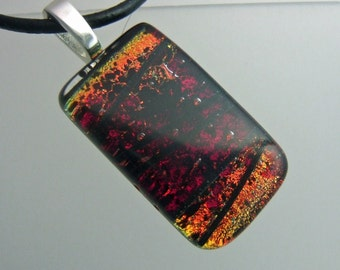Burning Embers Dichroic Pendant, Handmade Fused Glass Jewelry from North Carolina