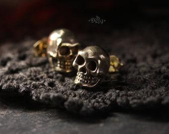 Human Skull Stud Earrings by Defy / Jewelry / Metal Work Accessories