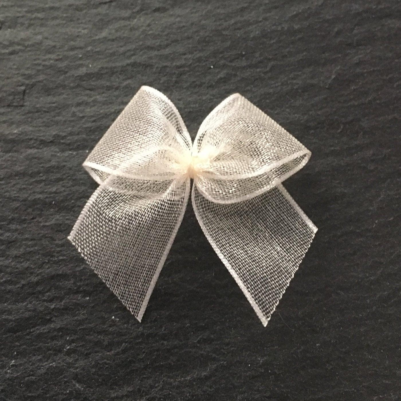 10, ivory organza bows, ivory ribbon bows, ivory bows, wedding ...