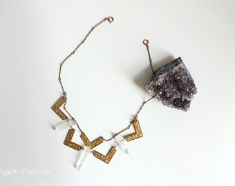 Geometric Necklace with Crystal Bars-Crystal Necklace-Geometric Raw Quartz Necklace-Statement Necklace