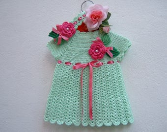 Baby Dress for crochet-Newborn hair Band-Complete size 0-3 months in light green cotton-roses and applied leaves-baby fashion