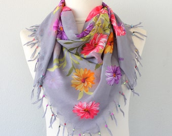 Floral boho scarf, beaded scarf, fringe scarf, bohemian style, summer scarves, women gift idea, mothers day gift for her, bright colored
