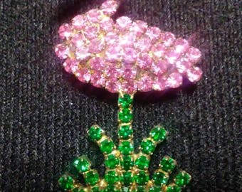 Pink Flamingo Brooch/Pin Pink, Green, Clear Rhinestones set in gold tone base