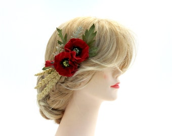 Poppy Hair Comb - Farmhouse Wedding Poppy Hair Flowers - Woodland Wedding Flowers
