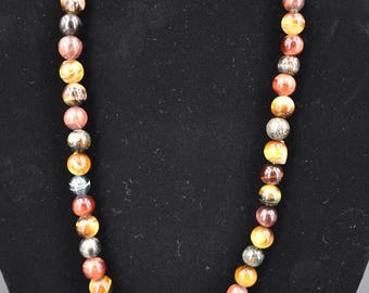 10mm Mixed Tigers Eye Necklace 18inch (Stainless Steel)
