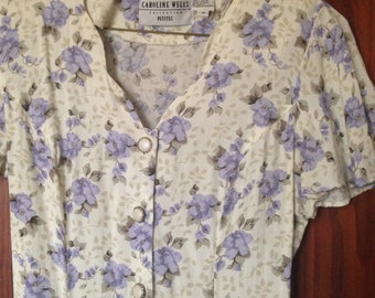 90's Rayon Lavender Floral Mid Length Dress