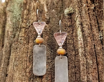 Handmade Sterling Silver and Copper Earrings
