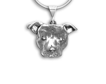Sterling Silver Pit Bull Large Pendant