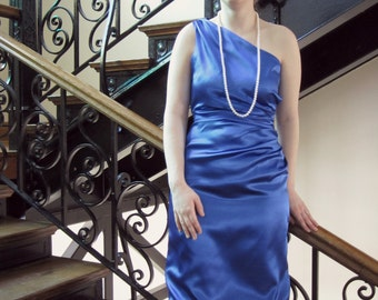 Vintage Inspired Dress, One Shoulder Dress, Side Pleated Evening Gown, Bridesmaid Dress, Elegant & Modest - CUSTOM MADE in any fabric