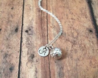 Soccer ball initial necklace - soccer jewelry, soccer team jewelry, gift for soccer player, sports jewelry, silver soccer necklace