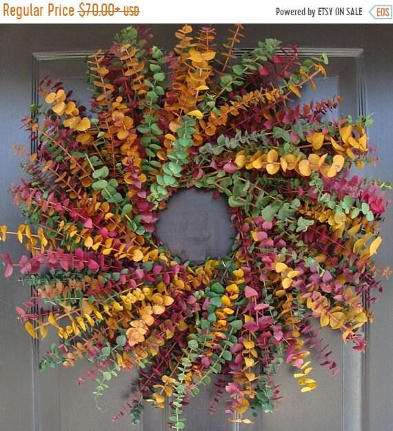 SUMMER WREATH SALE Eucalyptus Wreath in Sage, Plum and Amber- Spring Wreath- Year Round Eucalyptus Wreath