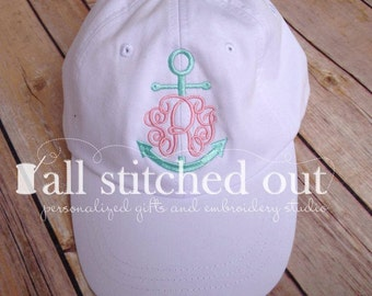 Anchor Monogrammed Hat - Personalized with your initials and your favorite colors