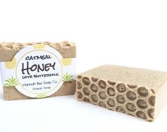 Oatmeal Honey soap bar with buttermilk, milk soap, oatmeal soap, honey soap, cold process soap
