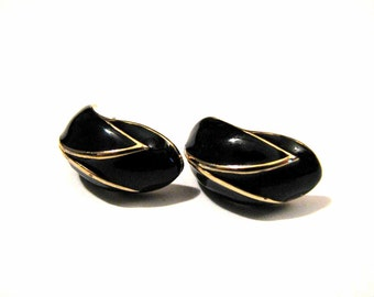 Vintage Gold and Black Enamel Pierced Earrings