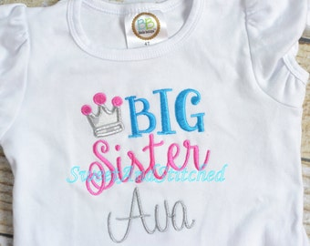Princess Big Sister Shirt Personalized, Big and little Sister Shirts with princess crown in pink and aqua, Little Sister, lil sis shirt