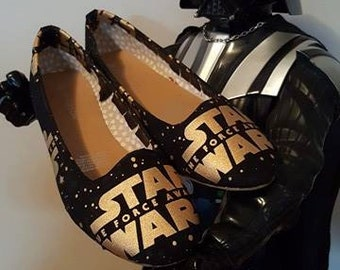 Star Wars - Gold on Black The Force Awakens - Womens Flat Shoes - AU Sizes 6-11 - Custom made - Ready to ship