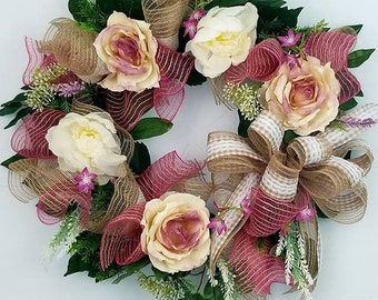 Summer Wreath, grapevine, flowers, burlap
