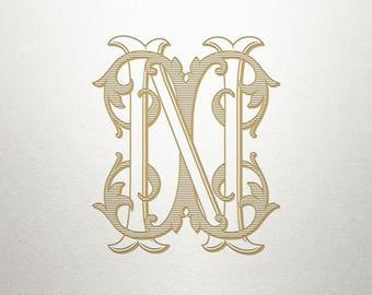 Custom Vintage Monogram -  IN NI - Vintage Monogram - Digital