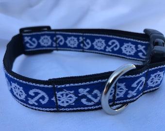 Anchor and Wheel Small Dog Collar