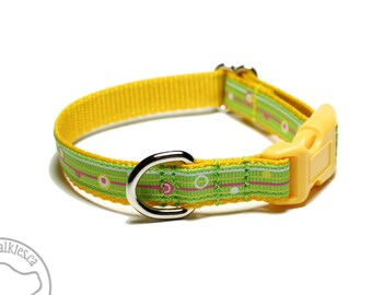 """Lemon Lime Stripes Dog Collar - 1/2"""" (13mm) Wide - Thin Dog Collar - your choice of style and size - Spring Green - Bright Yellow"""
