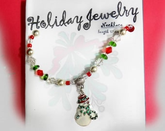 Snowman Holiday necklace - Christmas party necklace -Christmas party Necklace, Holiday Necklace Christmas - Xmas jewelry      # J  26