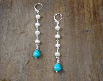 EXTRA LONG EARRINGS - Swing Earrings, Gifts for Women, Popular Jewelry, Good Causes, Turquoise and Pearls, Summer Jewelry, Under 20 dollars