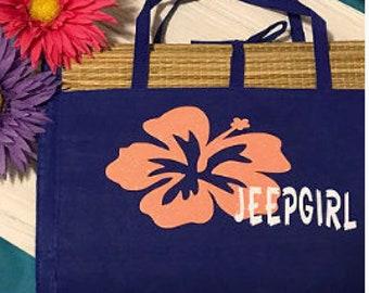 Jeep girl hibiscus flower straw beach mat